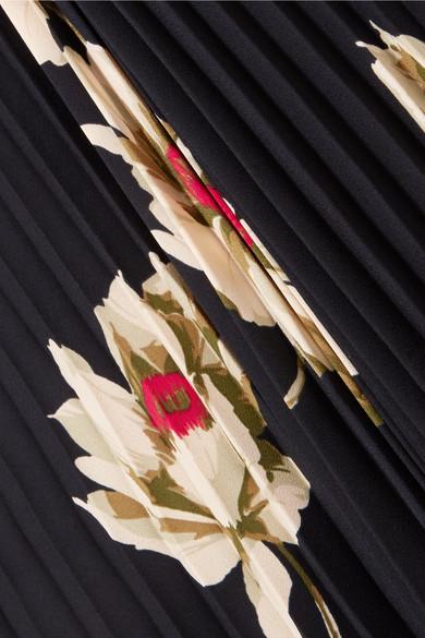 Vince Midikleid aus Crêpe mit Blumenprint und Plissee