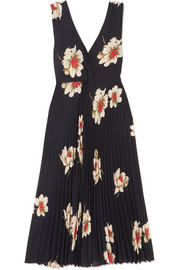 Vince Pleated floral-print crepe midi dress