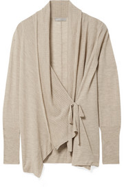 Draped wool and cashmere-blend cardigan