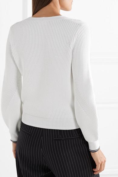 Vince Gerippter Pullover aus einer Baumwollmischung