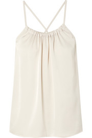 Vince Gathered satin-crepe top