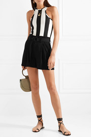 Belted pleated jersey shorts