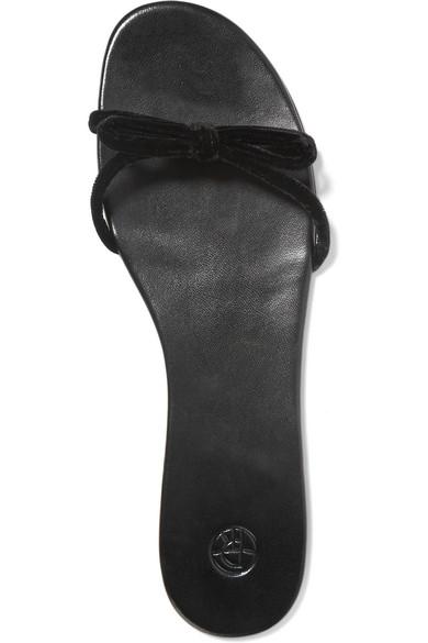 The Row Hollie Pantoletten aus Samt mit Knotendetail