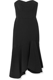 Strapless crepe midi dress