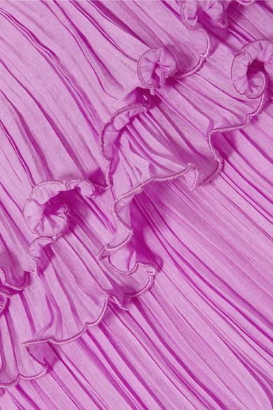 Halston Heritage Robe aus plissiertem Georgette mit Rüschen