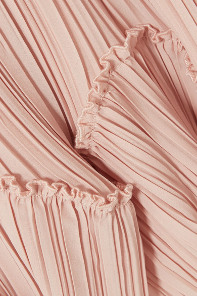 Halston Heritage Gerüschtes Minikleid aus plissiertem Georgette