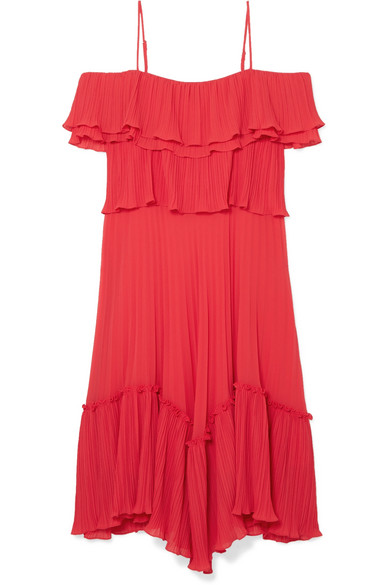 HALSTON HERITAGE Plisse Georgette Popover Ruffle Dress in Red
