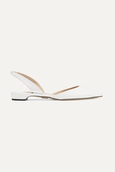 PAUL ANDREW Rhea Patent Leather Slingback Flats - White Size 9