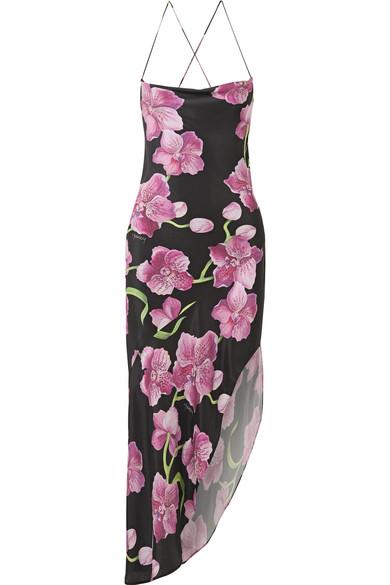 Haney + Jeff Leatham Goldie asymmetrisches Maxikleid aus Crêpe de Chine aus Seide mit Blumendruck