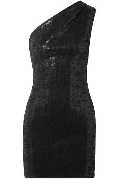 Haney Valentina Minikleid aus Crêpe mit Pailletten und asymmetrischer Schulterpartie