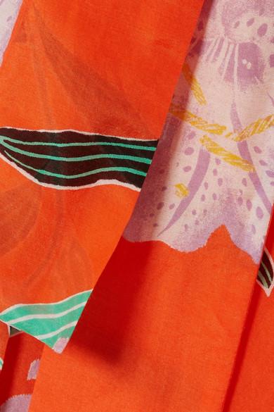 Diane von Furstenberg Wickelkleid aus einer Baumwoll-Seidenmischung mit floralem Print