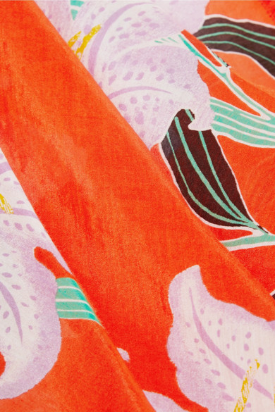 Diane von Furstenberg Bedrucktes Wickeloberteil aus Gaze aus einer Baumwoll-Seidenmischung