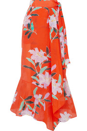 Printed cotton and silk-blend gauze wrap maxi skirt