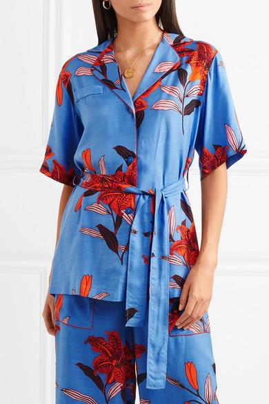 Diane von Furstenberg Bedrucktes Hemd aus Twill mit Gürtel
