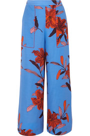 Printed twill wide-leg pants