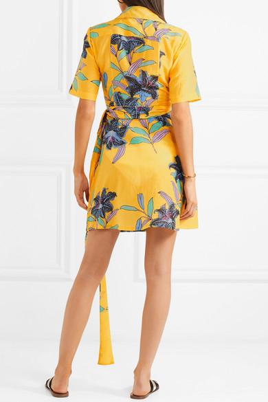 Diane von Furstenberg Minikleid aus einer floral bedruckten Baumwoll-Seidenmischung mit Wickeldetail Freies Verschiffen Preiswerteste 35Xo5i
