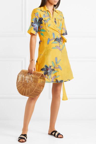 Diane von Furstenberg Minikleid aus einer floral bedruckten Baumwoll-Seidenmischung mit Wickeldetail