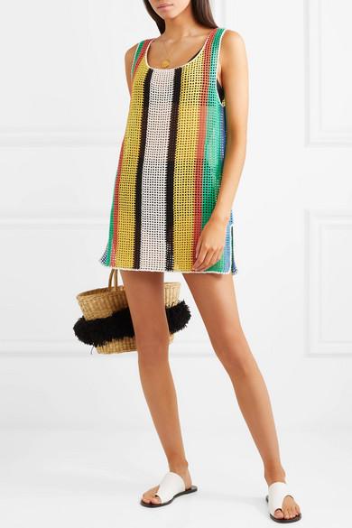 Diane von Furstenberg Gestreiftes Minikleid aus Strick in Häkel-Optik aus Baumwolle
