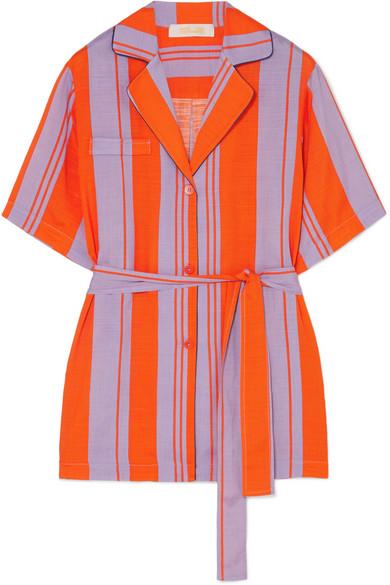 Diane von Furstenberg Gestreiftes Hemd aus Gaze aus einer Seidenmischung