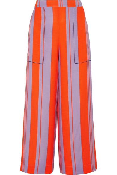 Diane von Furstenberg Hose mit weitem Bein aus gestreifter Gaze aus einer Seidenmischung