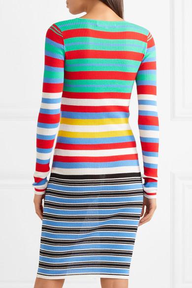 Diane von Furstenberg Gestreiftes Kleid aus geripptem Jersey aus einer Baumwollmischung