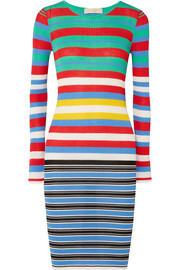 Diane von Furstenberg Striped ribbed cotton-blend jersey dress