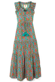 Figue Gianna tasseled printed silk crepe de chine maxi dress