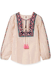 Caraiva embroidered striped metallic cotton-blend blouse