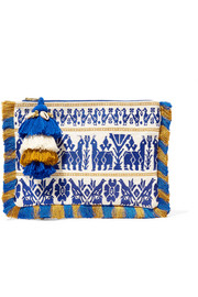 Maia tasseled embroidered cotton-canvas clutch