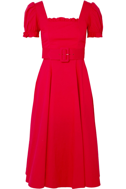 STAUD Maryann ruffled cotton-blend poplin midi dress