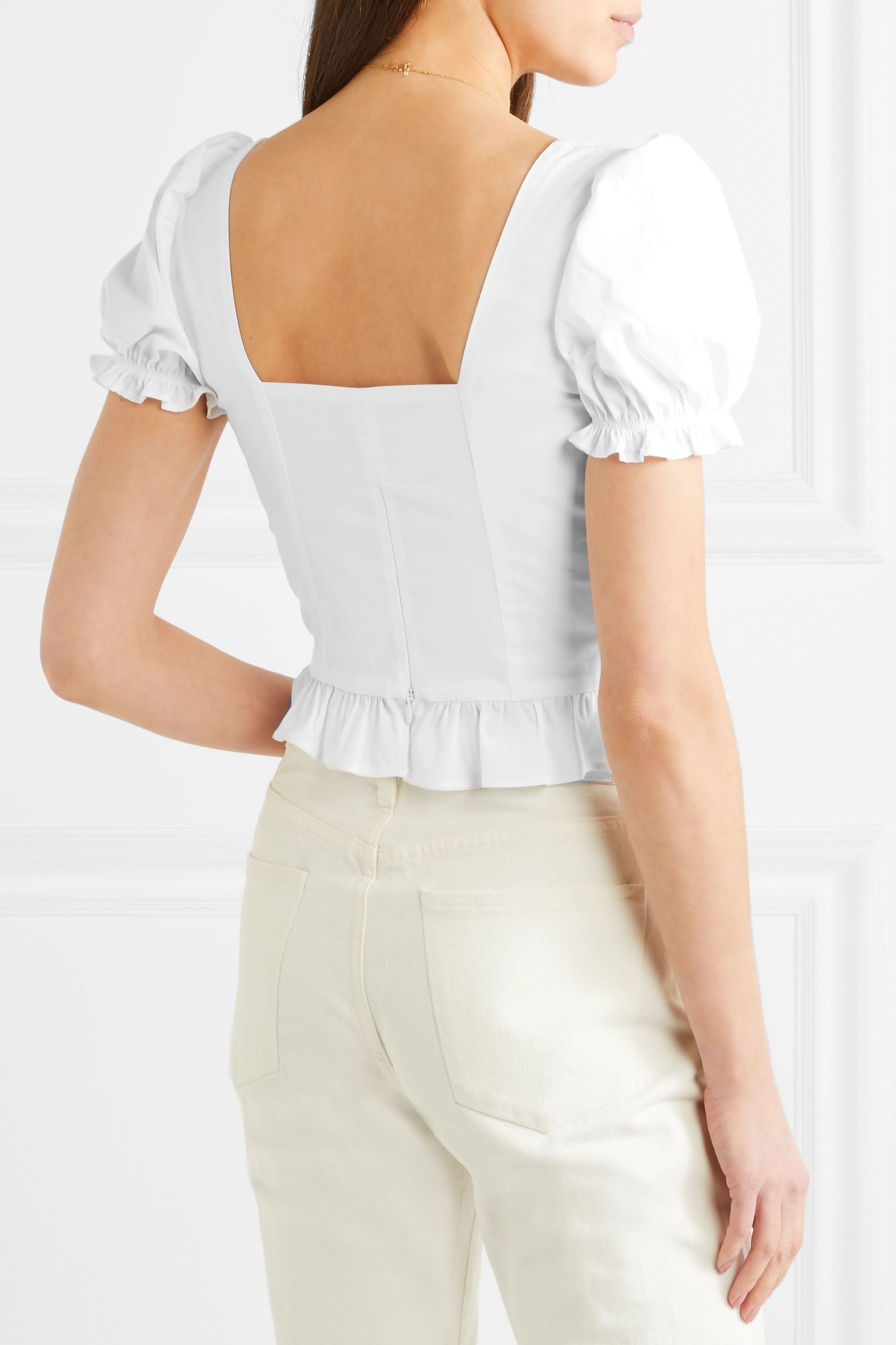 STAUD Ann cropped ruffled cotton-blend poplin blouse