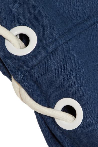 STAUD Raft Minikleid aus einer Leinenmischung mit Schnürungen