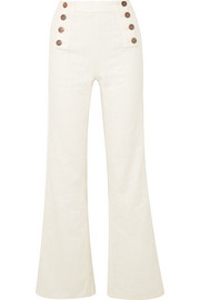 Gilligan button-embellished linen-blend straight-leg pants