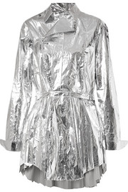 Louis pleated metallic coated-cotton top