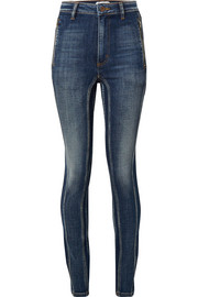 Tori distressed paneled high-rise skinny jeans