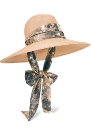Cassidy jacquard-trimmed woven sunhat
