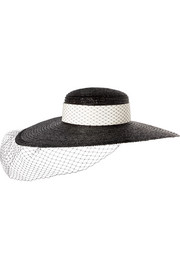 Eugenia Kim Ingrid veiled grosgrain-trimmed straw sunhat