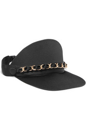 Nikki chain-embellished satin visor