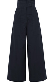 Hestia cotton-poplin wide-leg pants