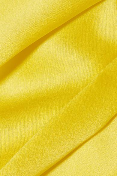 Solace London Rosa drapiertes schulterfreies Oberteil aus Seidensatin
