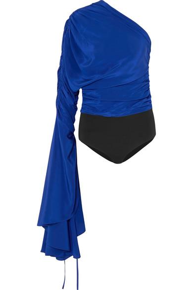 Solace London Reyna Body aus Crêpe de Chine aus Seide und Stretch-Jersey mit asymmetrischer Schulterpartie