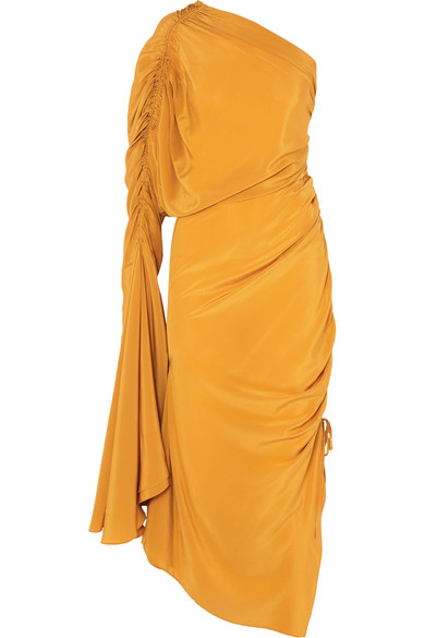 Remi Ruched Silk Crepe De Chine Dress by Solace London