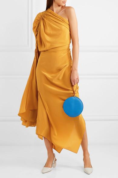 Solace London Remi gerafftes Seidenkleid aus Crêpe de Chine