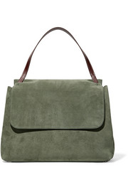 Top Handle 14 leather-trimmed suede shoulder bag