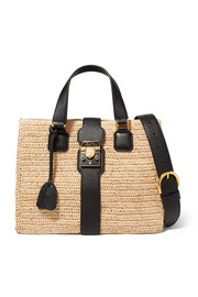 Riviera textured leather-trimmed raffia tote
