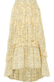 Marilyn asymmetric ruffled floral-print silk-georgette skirt