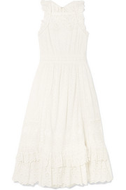 Willow ruffled broderie anglaise cotton midi dress