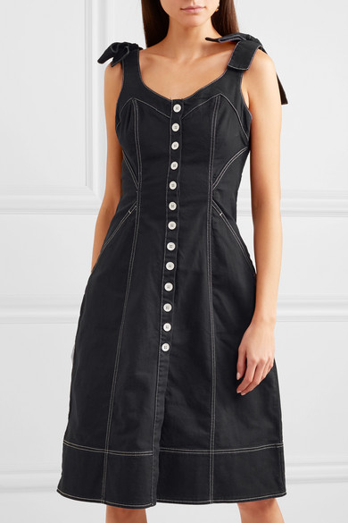 1307ba3e808 Ulla Johnson. Emory bow-detailed denim dress