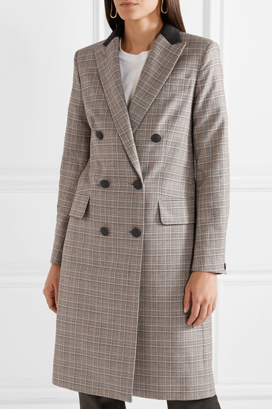 Rag & Bone Preston Double Breasted Coat From A Checkered Wool-cotton Blend