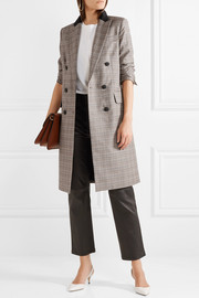 Preston double-breasted checked wool and cotton-blend coat
